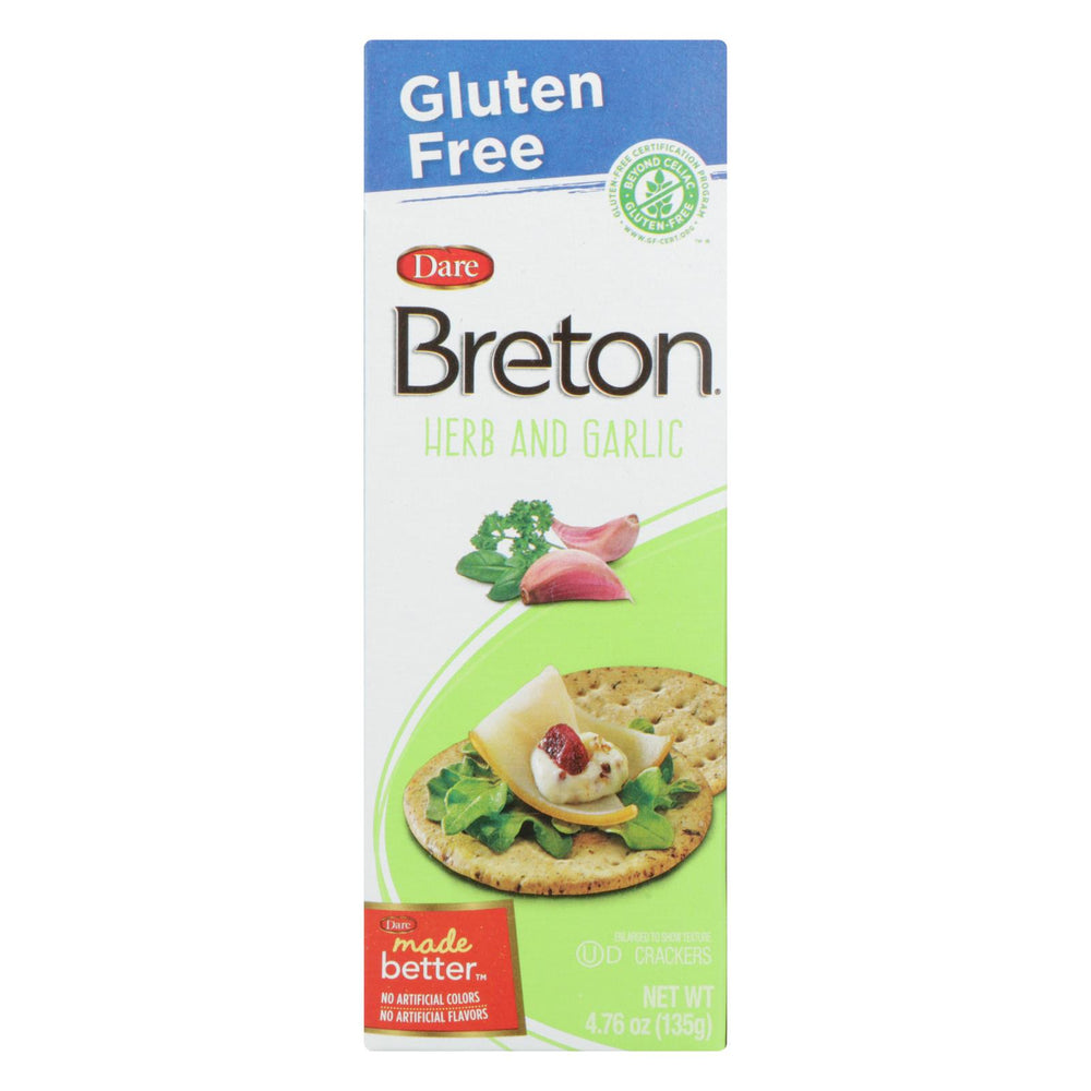 Breton-dare - Crackers - Herb And Garlic - Case Of 6 - 4.76 Oz.