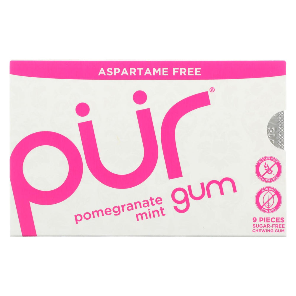 Pur Gum - Pomegranate Mint - Aspartame Free - 9 Pieces - 12.6 G - Case Of 12