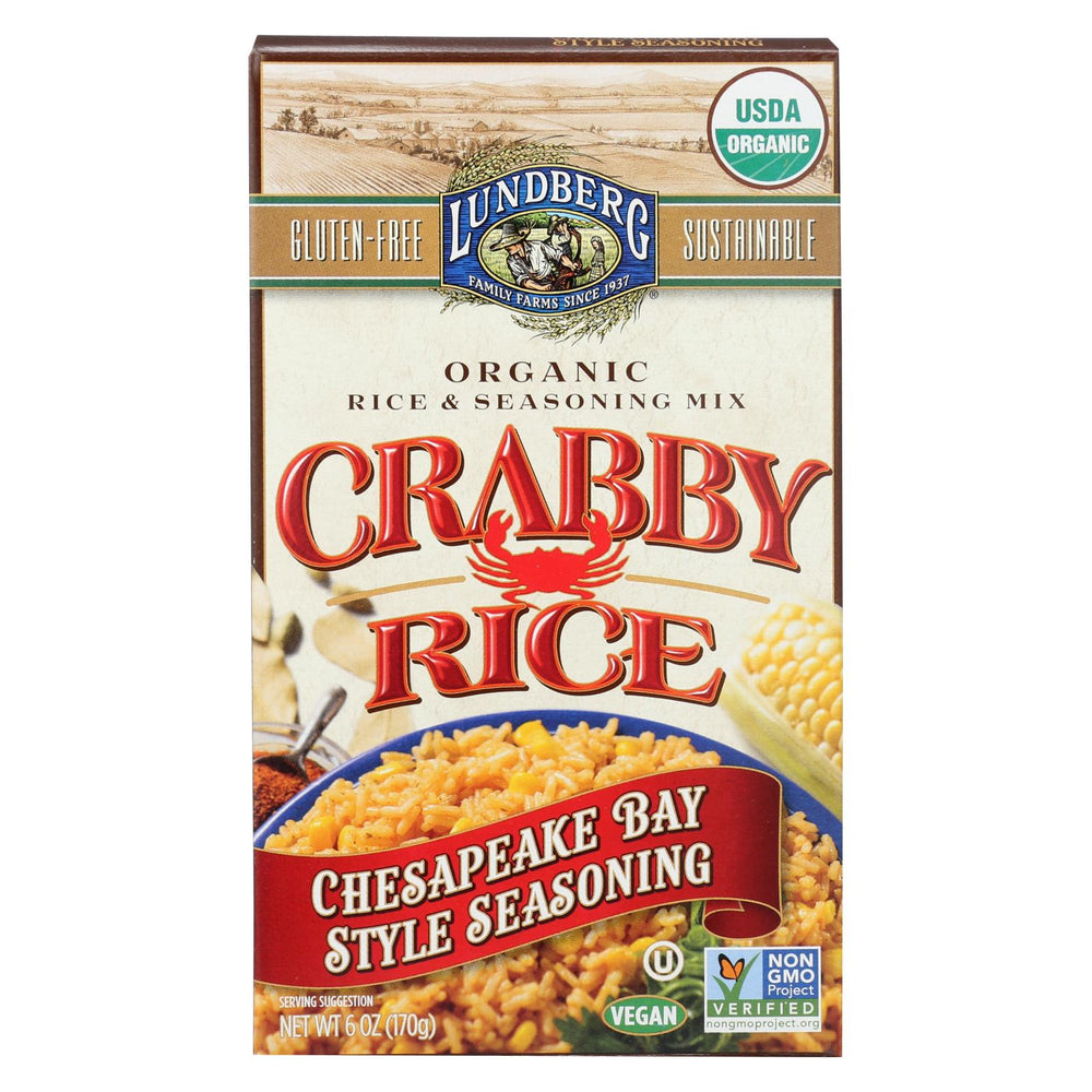 Lundberg Family Farms Organic Crabby Rice Chesapeake Bay Style And Seasoning - Case Of 6 - 6 Oz.