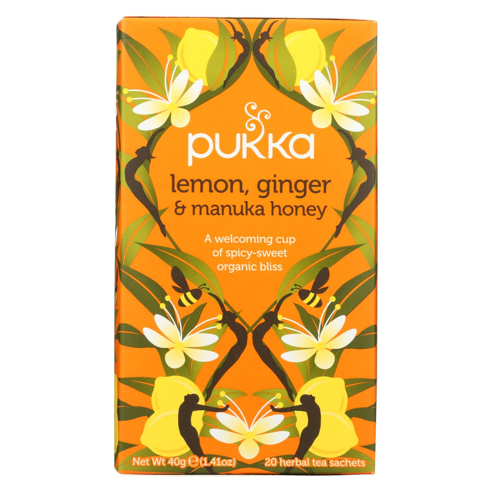 Pukka Herbal Teas Tea - Organic - Lemon Ginger And Manuka Honey - 20 Bags - Case Of 6