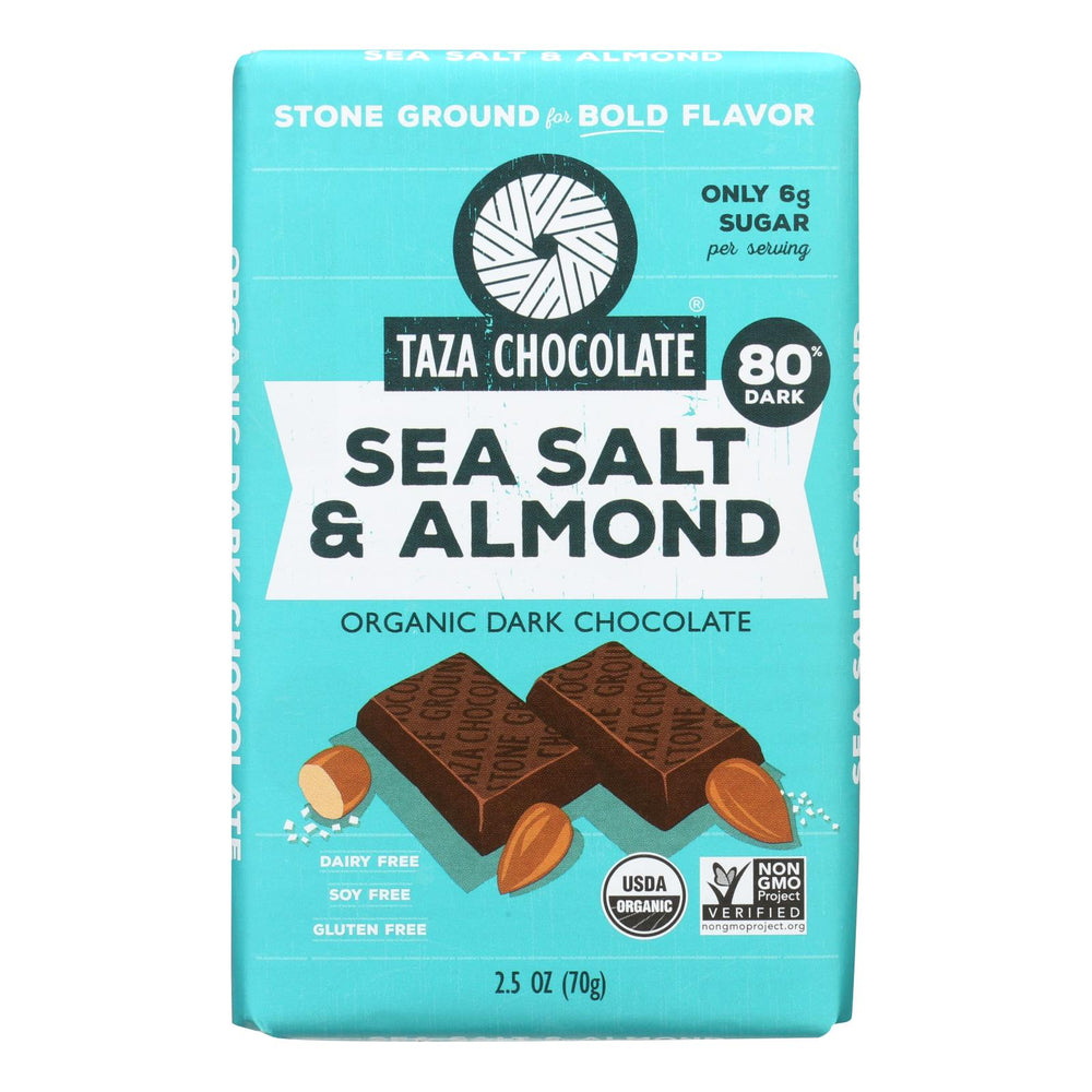 Taza Chocolate Stone Ground Organic Dark Chocolate Bar - Sea Salt And Almond - Case Of 10 - 2.5 Oz.