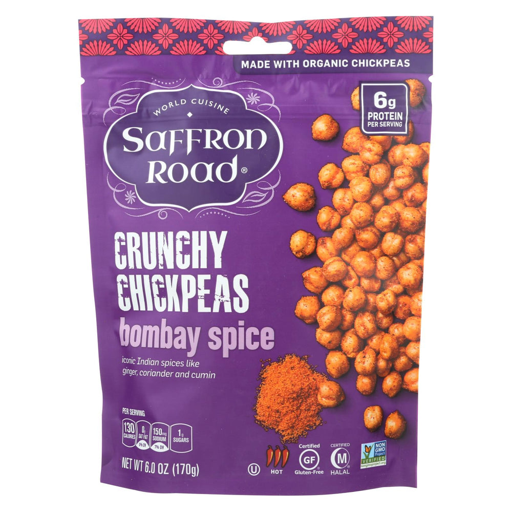 Saffron Road Crunchy Chickpeas - Bombay Spices - Case Of 12 - 6 Oz.