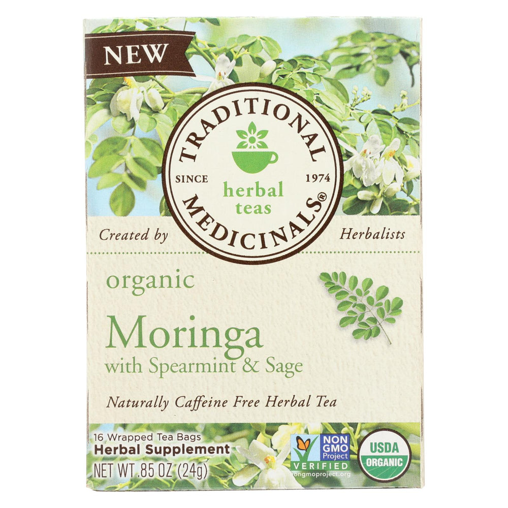 Traditional Medicinals Herb Tea - Organic - Moringa Spearmint Sage - Case Of 6 - 16 Bag