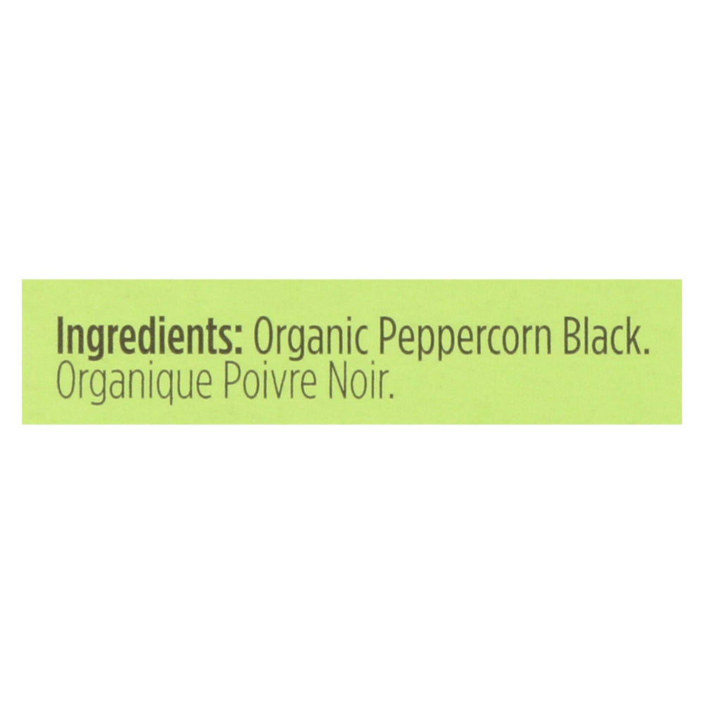 Spicely Organics - Organic Peppercorn - Black - Case Of 6 - 0.45 Oz.