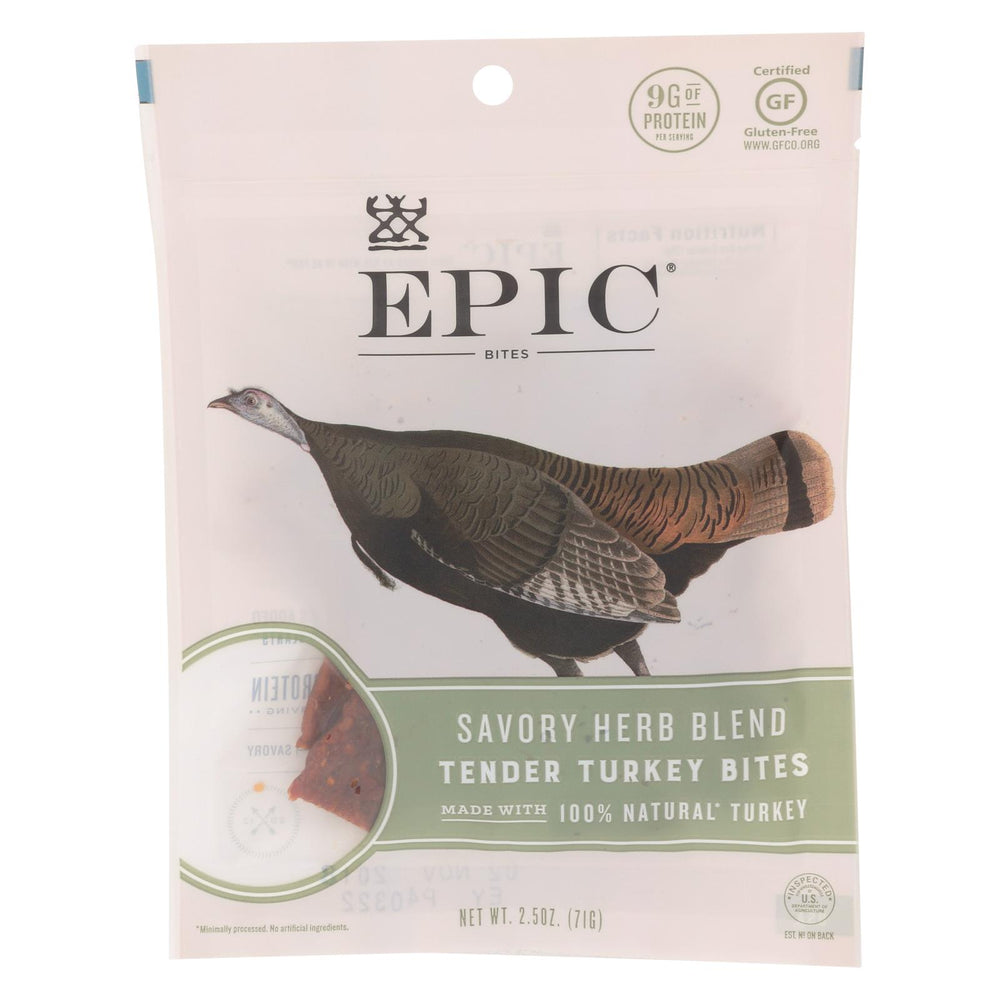 Epic - Jerky Bites - Savory Herb Blend Turkey - Case Of 8 - 2.5 Oz.