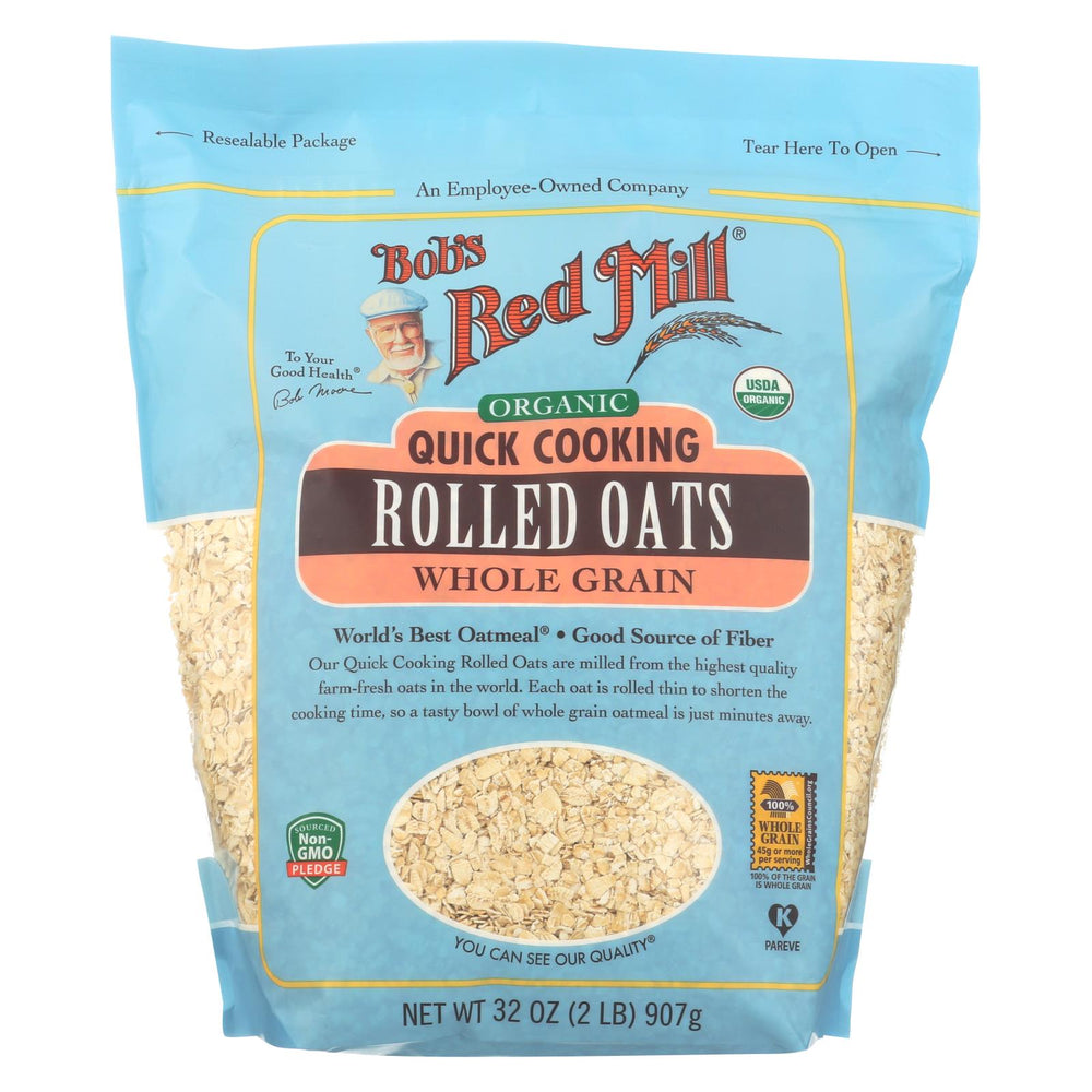 Bob's Red Mill - Oats - Organic Quick Cooking Rolled Oats - Whole Grain - Case Of 4 - 32 Oz.