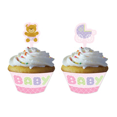 Lyserøde bamse cupcake wrappers