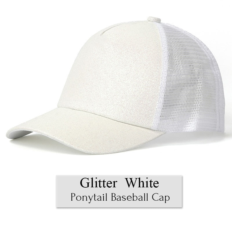 1da44b26 Glitter Ponytail Baseball Cap Women Snapback Summer Mesh Hat Female ...