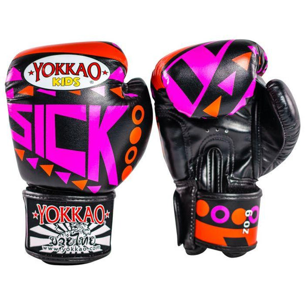 Sick Muay Thai Boxing Gloves Orange/Pink For Kids