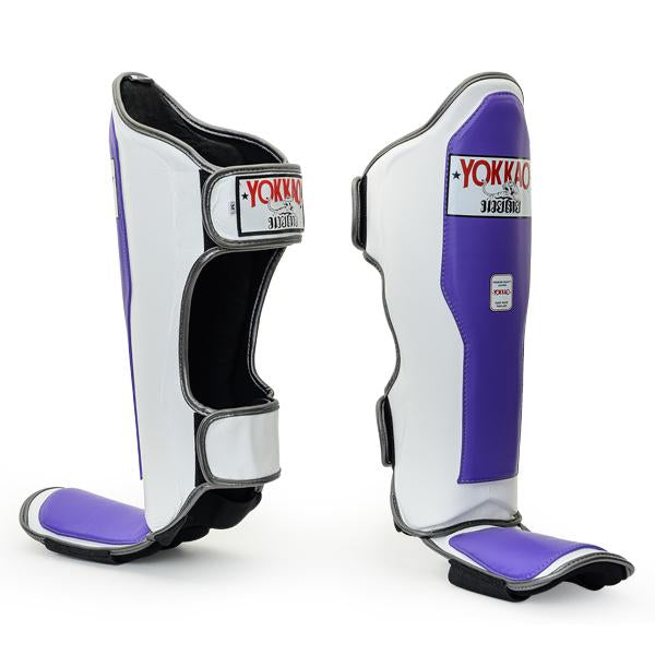 Double Impact Ultra Violet-White Shin Guards