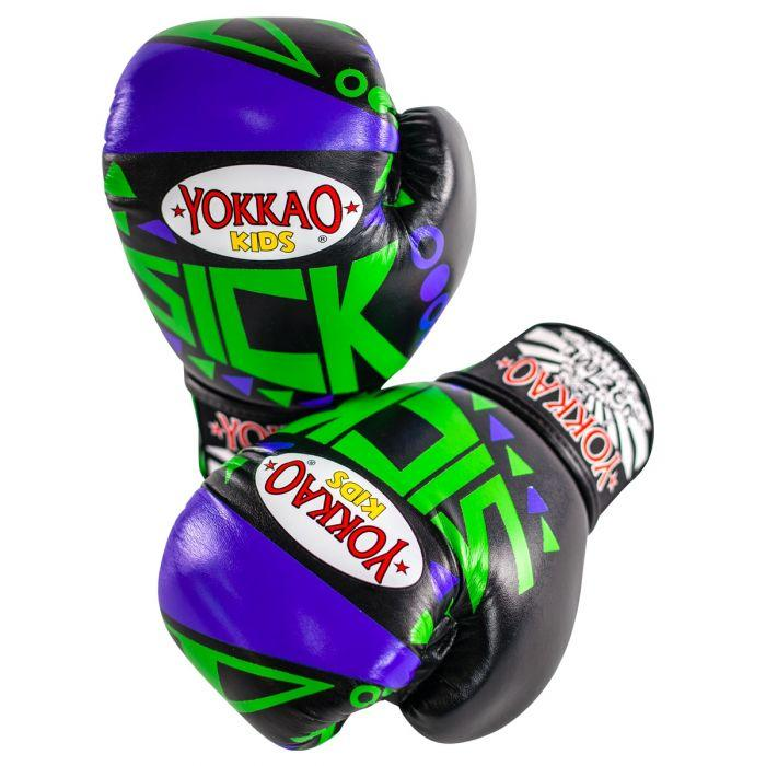 Sick Muay Thai Boxing Gloves Blue/Green For Kids