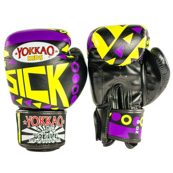 Sick Muay Thai Boxing Gloves Violet/Yellow For Kids