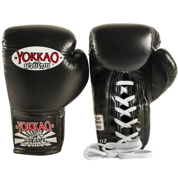Matrix Black Lace Up Boxing Gloves