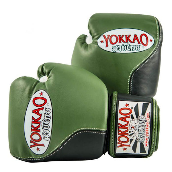 Double Impact Muay Thai Boxing Gloves Green/Black