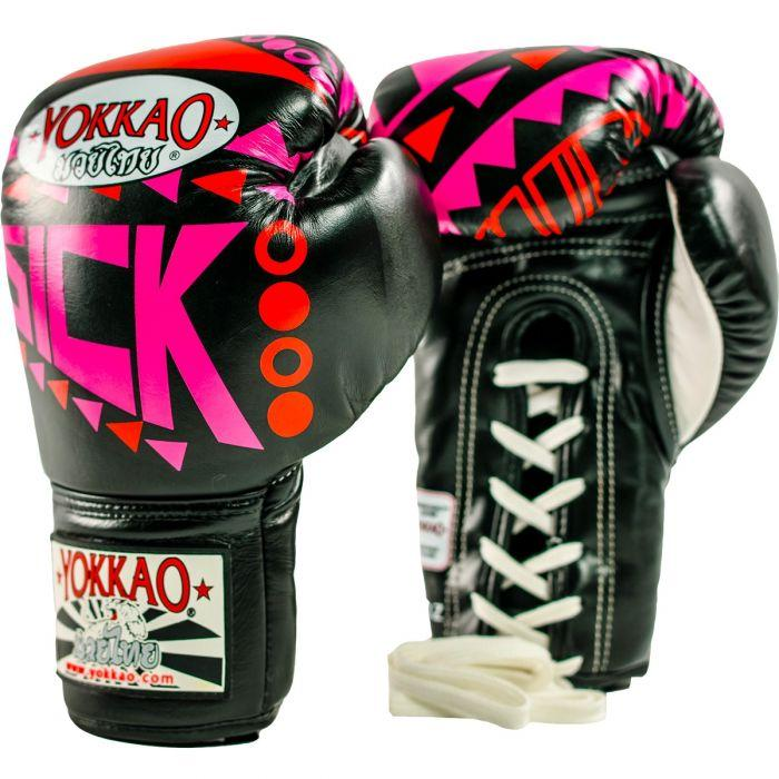 Sick Muay Thai Lace Up Gloves Orange/Pink