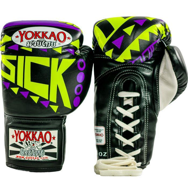 Sick Muay Thai Lace Up Gloves Violet/Yellow