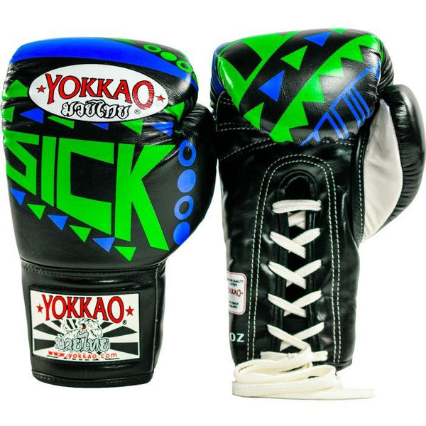 Sick Muay Thai Lace Up Gloves Blue/Green