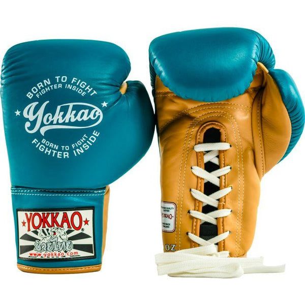 Vintage Boxing Blue Lace Up Gloves