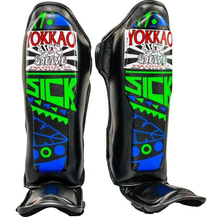 Sick Blue/Green Kids Shin Guards