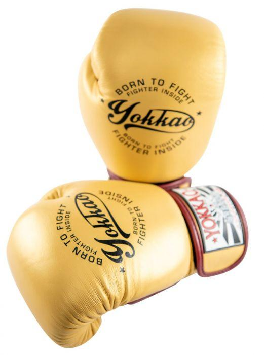 Vintage Gold Muay Thai Boxing Gloves
