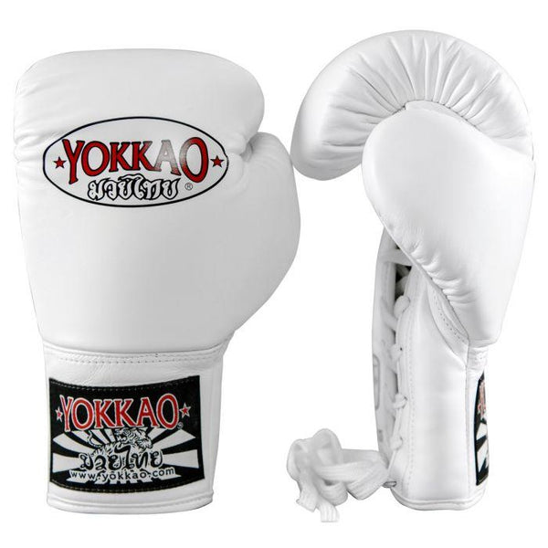 Matrix White Lace Up Boxing Gloves