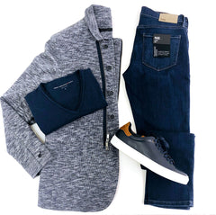 Work from home with this soft jacket, tee, jeans and sneakers