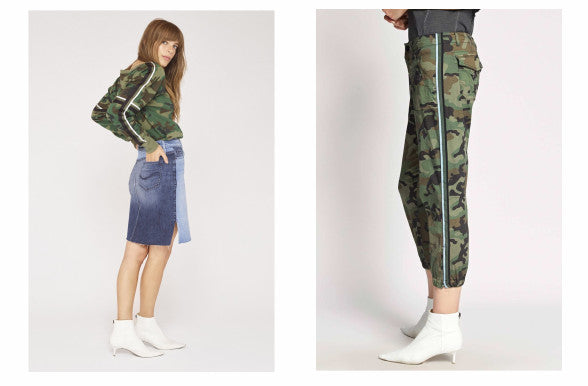 Sanctuary:  Backtrack Sport Stripe Fleece Sweatshirt, the Sia A-Line Skirt and the Camo Pull On Trooper Pant