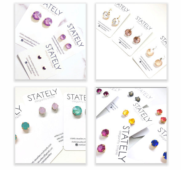 Stately jewellery studs and drops