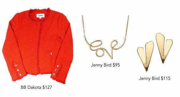 BB Dakota jacket, Jenny Bird Love Collection necklace and earrings
