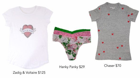 Zadig & Voltaire tee, Hanky Panky thongs and Chaser tee.