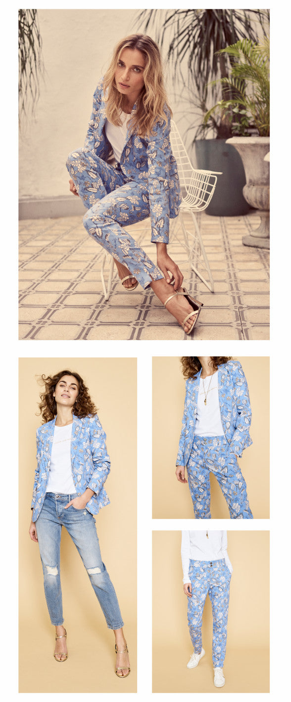 Mos Mosh blue floral suit worn three ways