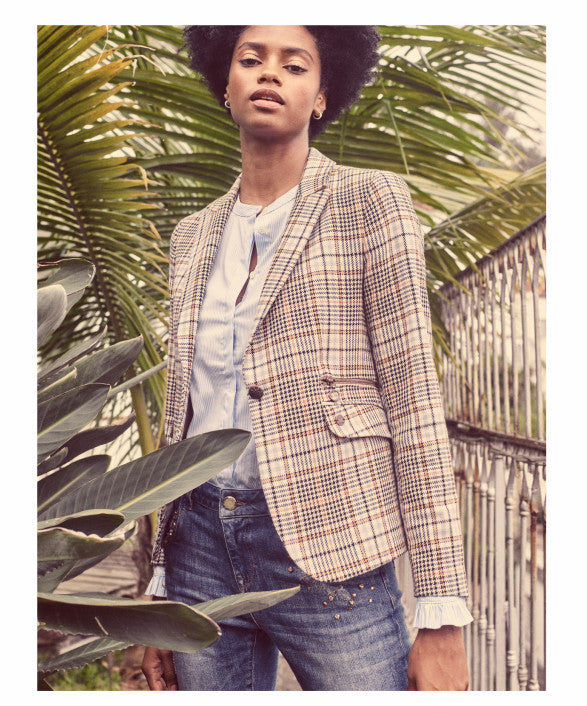 Mos Mosh Mattie Blouse shown with jeans and a blazer