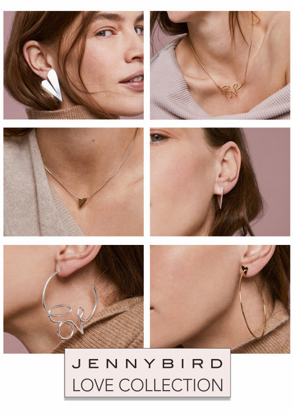 Jenny Bird Love Collection jewellery. Hoops, pendants and hearts.