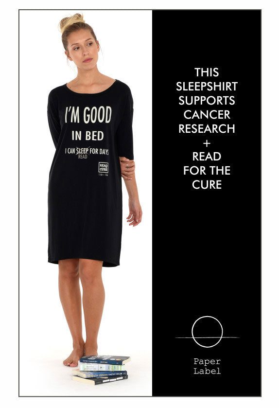 This Paper Label sleep shirt supports cancer research and Read for the Cure.