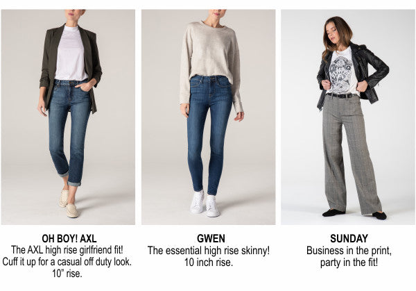 Fidelity denim styles - Oh Boy! AXL, Gwen, Sunday