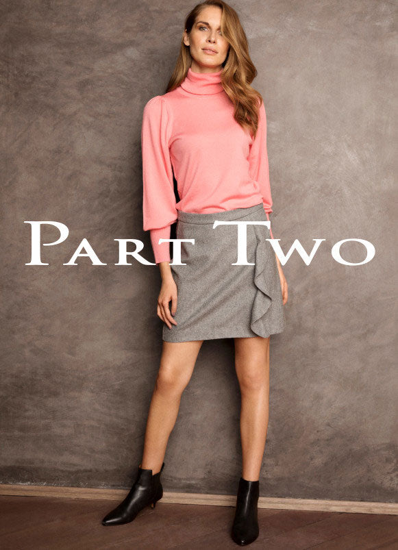 Part Two pink top, grey skirt ready for the holidays