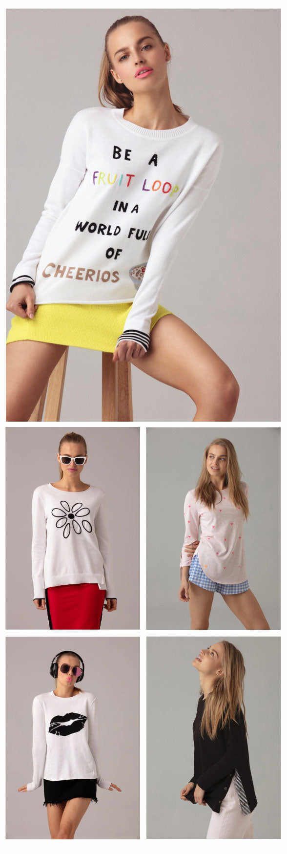 Lisa Todd images. Five fun cotton sweaters.