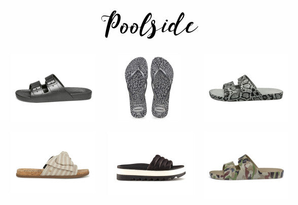 Poolside shoes from Moses, Havaianas, Circus by Sam Edelman and Cougar
