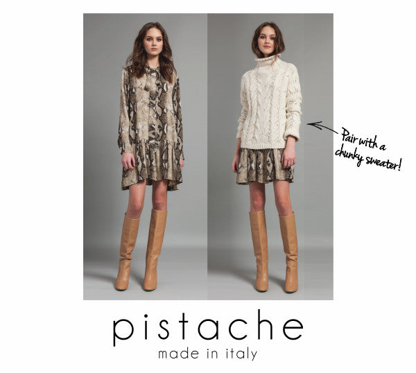 Pistache snake skin print dress - pair with a chunky sweater.