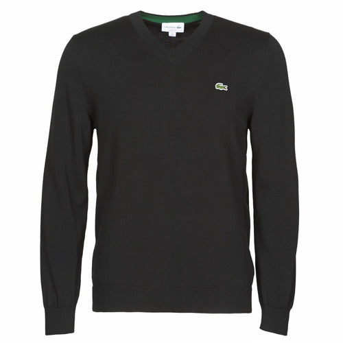 V-NECK COTTON SWEATER (BLACK) - LACOSTE