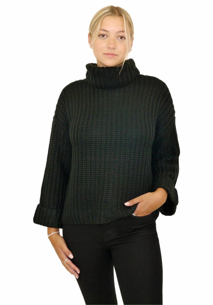 WIDE SLEEVE TURTLENECK  (BLACK) - 525 AMERICA
