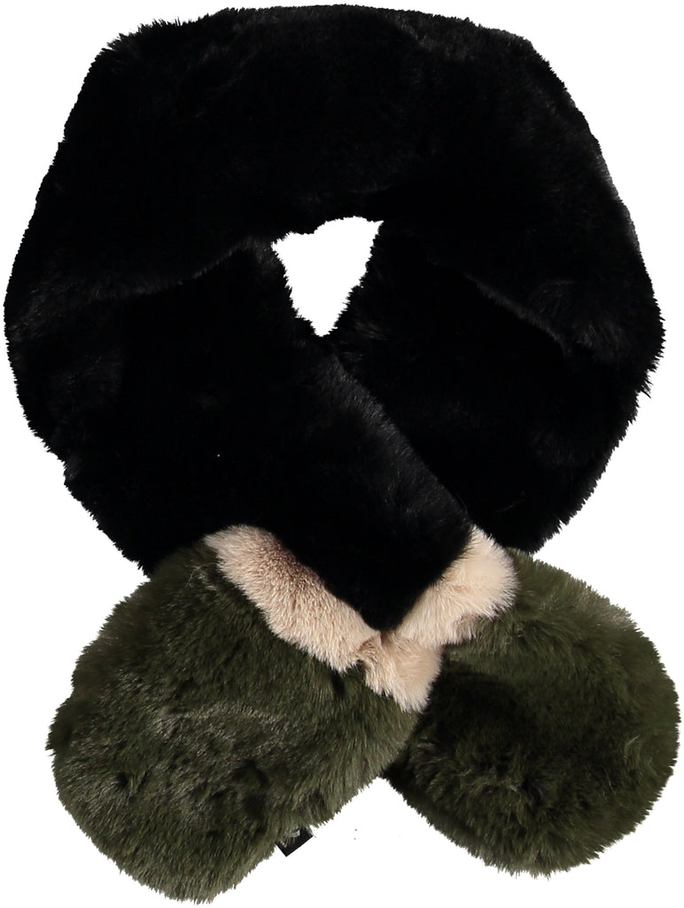 FAUX FUR PULL THROUGH SCARF (BLACK) - FRAAS