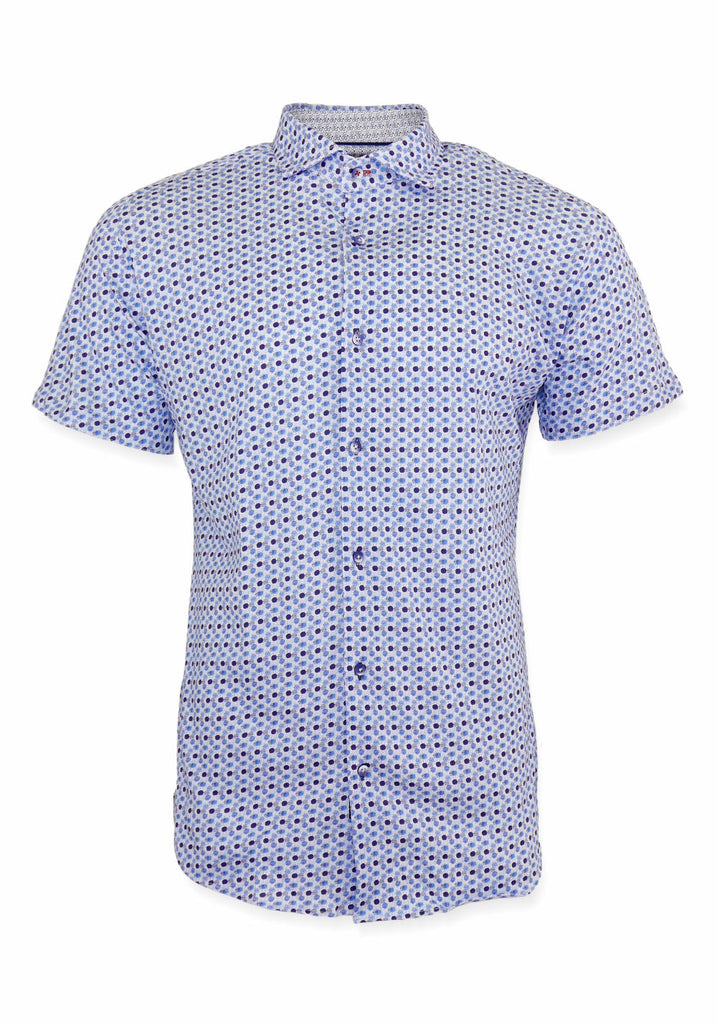 SHORT SLEEVE SHIRT (BLUE DOT) - 7 DOWNIE