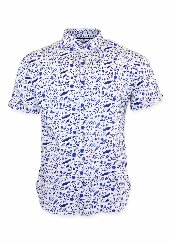 SHORT SLEEVE SHIRT (BLUE FLORAL) - 7 DOWNIE