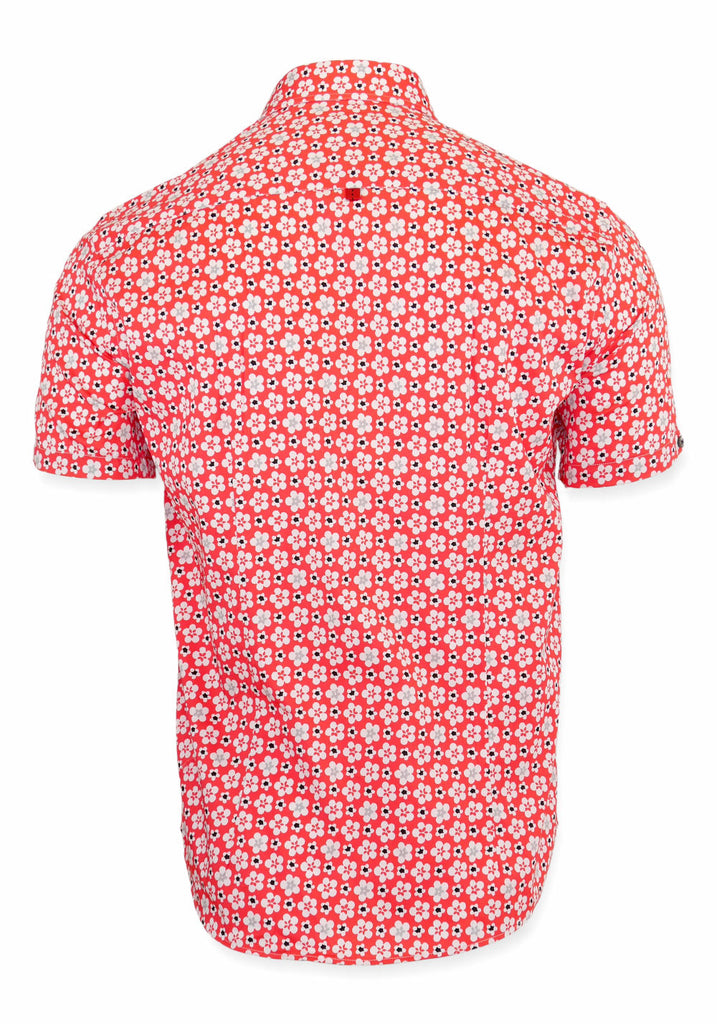 SHORT SLEEVE SHIRT (RED FLORAL) - 7 DOWNIE