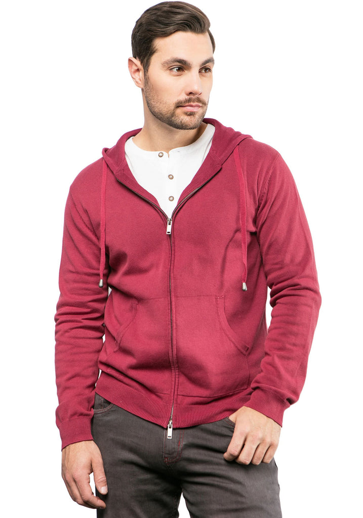 FULL ZIP STONEWASH HOODIE (RED) - 7 DOWNIE
