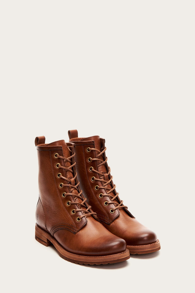 VERONICA LACE UP COMBAT BOOT (CARAMEL) - FRYE