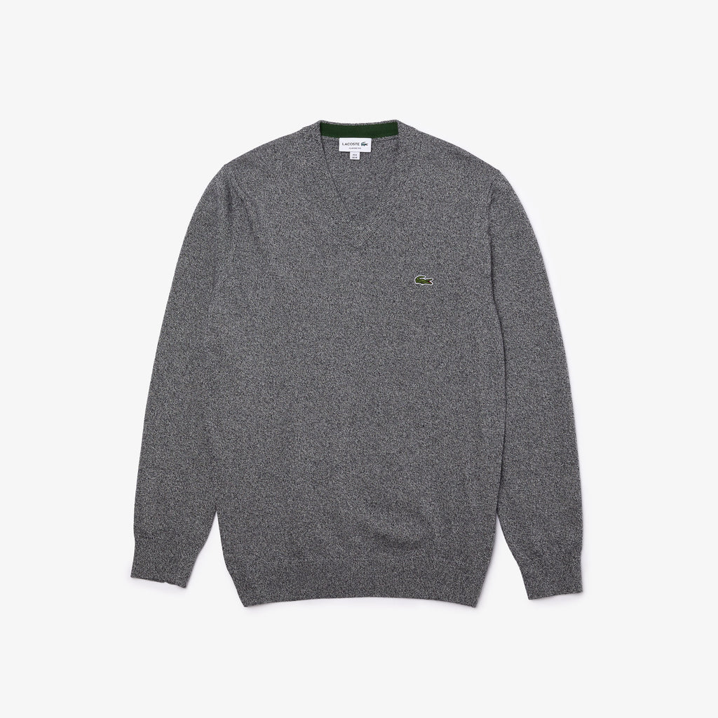 V-NECK COTTON SWEATER (GREY) - LACOSTE