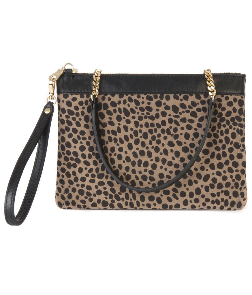 SHARON LEATHER PRINT CLUTCH (MUD PAWS) - BRAVE