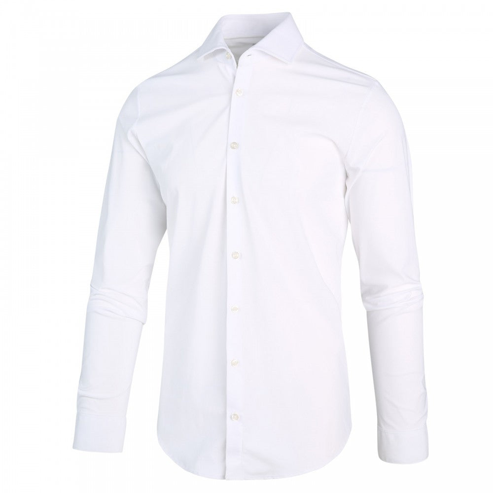 JERSEY BUTTON UP SHIRT (WHITE)- BLUE INDUSTRY